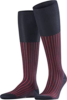 FALKE Men's Shadow Knee-High Socks Cotton Black Grey More Colours Thin Long Length Colourful Stripe Pattern With Rib For S...
