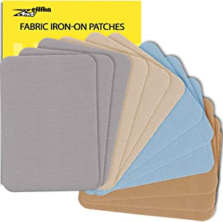 """ZEFFFKA Premium Quality Fabric Iron On Patches Blue Gray Beige Brown 12 Pieces 100% Cotton Repair Kit 3"""" by 4-1/4"""""""