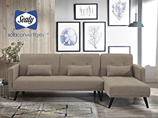Sealy Jenna Modern Convertible Sectional in Pecan