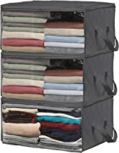 Simple Houseware 3 Pack Foldable Closet Organizer Clothing Storage Box with Clear Window, Dark Grey