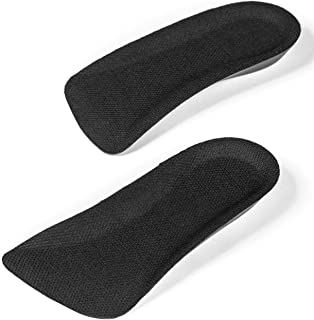 CALTO Half Elevator Insole for Men - 1/2 Inch Height Increase Taller Heel Lift Insert (2 Pack) Black