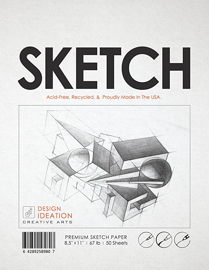 Premium Sketch Paper for Pencil, Ink, Marker, Charcoal and Watercolor Paints. Great for Art, Design and Education. Loose Pack. (50 Sheets(8.5