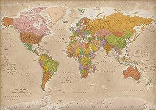 Póster XXL Mapa del Mundo 2018 - Vintage / Antiguo MAPS IN