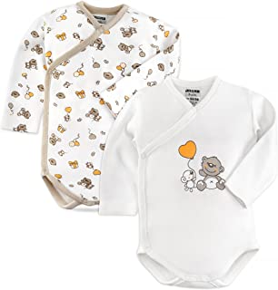 Jacky Baby Body 2er Pack Bär - Langarmbody Set aus 100% Baumwolle ÖkoTex geprüft, maschinenwaschbar - weiche Wickelbodys mit Druckknöpfen - Weiß Beige