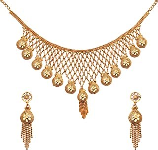Ethinic Gold Plated Kundan Jewellery Necklace Set With One Pair of Earrrings For Women