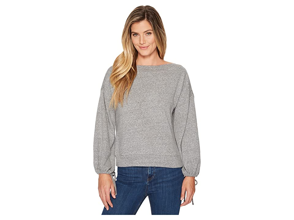 Lanston Drawstring Sleeve Pullover Top (Heather) Women's Long Sleeve Pullover