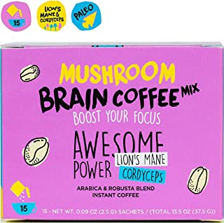 Instant Mushroom Coffee with Lions Mane and Cordyceps Mix for Brain Memory Focus 15 Pack Concentration Energy Booster Shroomzup Arabica Robusta Powder Paleo Vegan Organic Natural Vitamins