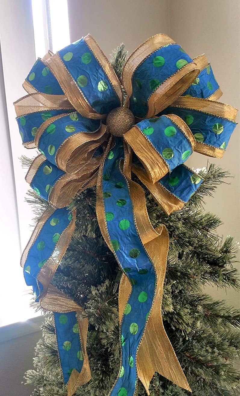 Gold and Blue Christmas Bow - Christmas Tree Topper Bow - Blue and Gold Tree Topper - Holiday Bow - Christmas Decoration - Tree Topper