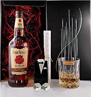 Geschenk Four Roses Bourbon Whiskey  Glas  2 Whisky Kühlsteine