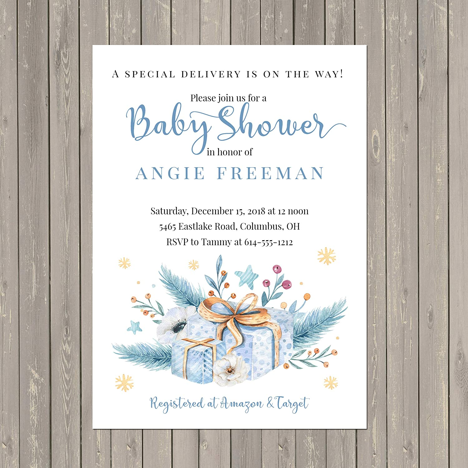 Baby Boy Gift Christmas Special Shower Deliver El Paso Mall Invitations Limited Special Price