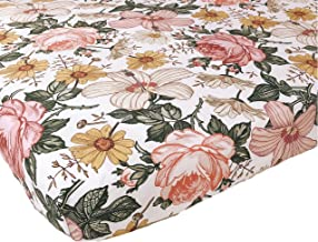 Woven Cotton Crib Sheet - Baby Girl (Garden Floral Crib Sheet)