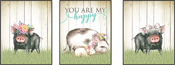 Silly Goose Gifts Hogs Pig Piggy Art Print Watercolor Design Wall Decor Set (You are My Happy)