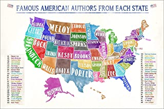 Famous American Authors By State Water Color Fine Art Print. United States Map Poster. Multiple Sizes Available for Library, Office, or Classroom.