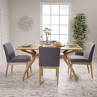 Christopher Knight Home 299327 Katherine Dark Grey Fabric/Natural Oak Finish 5 Pc Dining Set, Brown