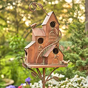 Zaer Ltd. Large Copper Colored Multi-Birdhouse Stakes, Room for 4 Bird Families in Each (Castle Home)