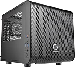 Thermaltake Core V1 SPCC Mini ITX Cube Gaming Computer Case Chassis, Interchangeable Side Panels, Black Edition, CA-1B8-00...