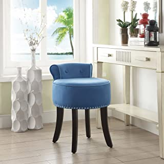Inspired Home Taylor Blue Velvet Vanity Stool - Nailhead Trim   Roll Back   Button Tufted   Bedroom