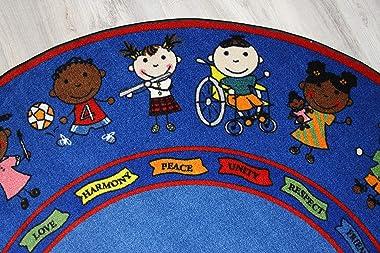 Kid Carpet Friends Full Circle Round Nylon Area Rug, 6', Multicolored
