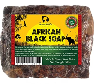 African Black Soap - 5lb Raw Organic Soap for Acne, Dry Skin, Rashes, Scar Removal, Face & Body Wash - Incredible By Nature
