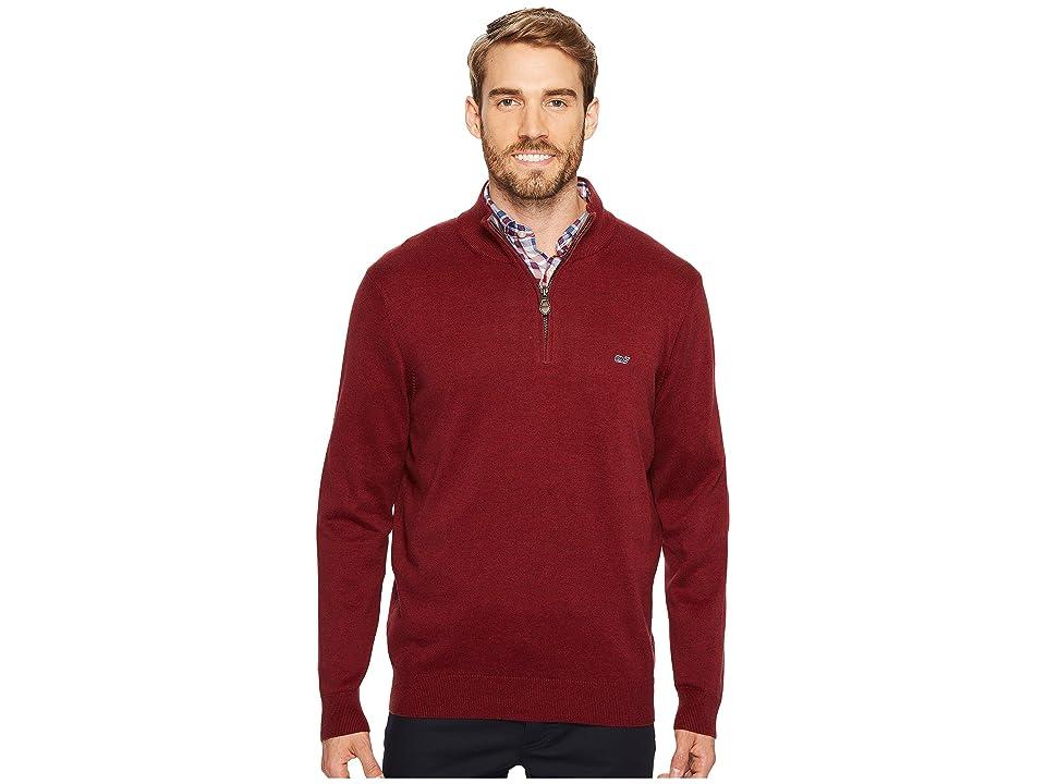 Vineyard Vines Cotton 1/4 Zip Sweater (Crimson) Men
