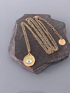 Collana turchese oro turchese in zama, collana dorata, gioiello dorato, collana mistica, gioiello donna, idea regalo, rega...