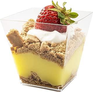 5oz. Sturdy Modern Dessert Cup, Clear Square Plastic Cup, Stylish Parfait Glasses Dessert Cups, Fancy Trifle Bowl