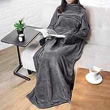 PAVILIA Premium Fleece Blanket with Sleeves for Adult, Women, Men   Warm, Cozy, Extra Soft, Microplush, Functional, Lightweight Wearable Throw (Charcoal, Kangaroo Pocket)