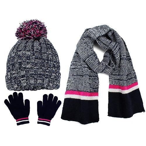 fe426f138 S.W.A.K Kids Girls Knit Pompom Beanie Hat Scarf and Gloves Set One Size Fits  Most (