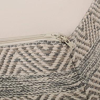 Christopher Knight Home Olivia Boho Rectangular Bean Bag Ottoman, Light Brown, Natural, Gray
