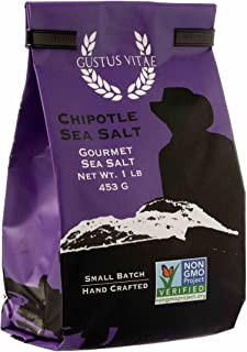 Chipotle Sea Salt | Non GMO Verified | All Natural | Bulk Seasoning | 1LB | Crafted in Small Batches by Gustus Vitae | #A6