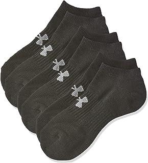 Under Armour Unisex Training Cotton No Show 3 Socks, Black (Black/Steel), Medium
