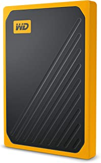 Western Digital My Passport GO Portable SSD, 2TB, USB 3.0, Speeds Up to 400 MB/s, Built-in Cable, Yellow, Yellow, 3Y