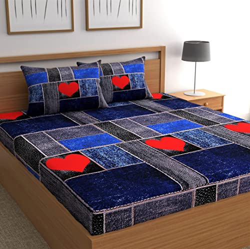 CG HOMES Microfiber Double BEDSHEET with Two Pillow Covers Blue