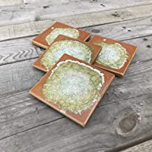 product image for Geode Crackle Coaster Set of 4 in Pumpkin, Geode Coaster, Crackle Coaster, Fused Glass Coaster, Crackle Glass Coaster, Agate Coaster, Ceramic Coaster, Dock 6 Pottery Coaster
