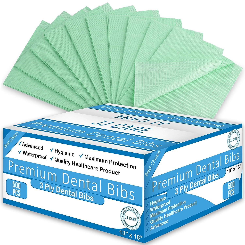 JJ High order CARE UPGRADED Green Dental Bibs of cheap Pack Waterpr 500 3-Ply