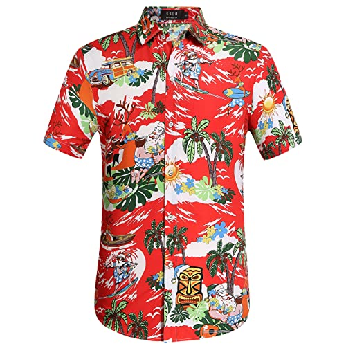 dc535434d2c2 SSLR Men's Santa Claus Party Tropical Ugly Hawaiian Christmas Shirts