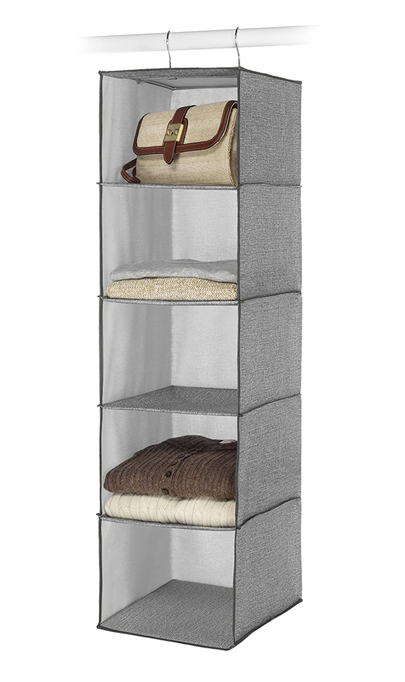 Whitmor Hanging Accessory Shelves 5 Open Sweater Shelves Crosshatch Gray