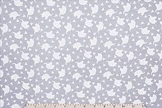 Elephant Confetti Gray Flannel Fabric by The Yard