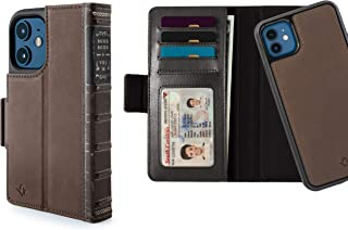 Twelve South BookBook for iPhone 12 Mini | 3-in-1 Leather Wallet Case with Display Stand and Removable Magnetic Shell (brown)