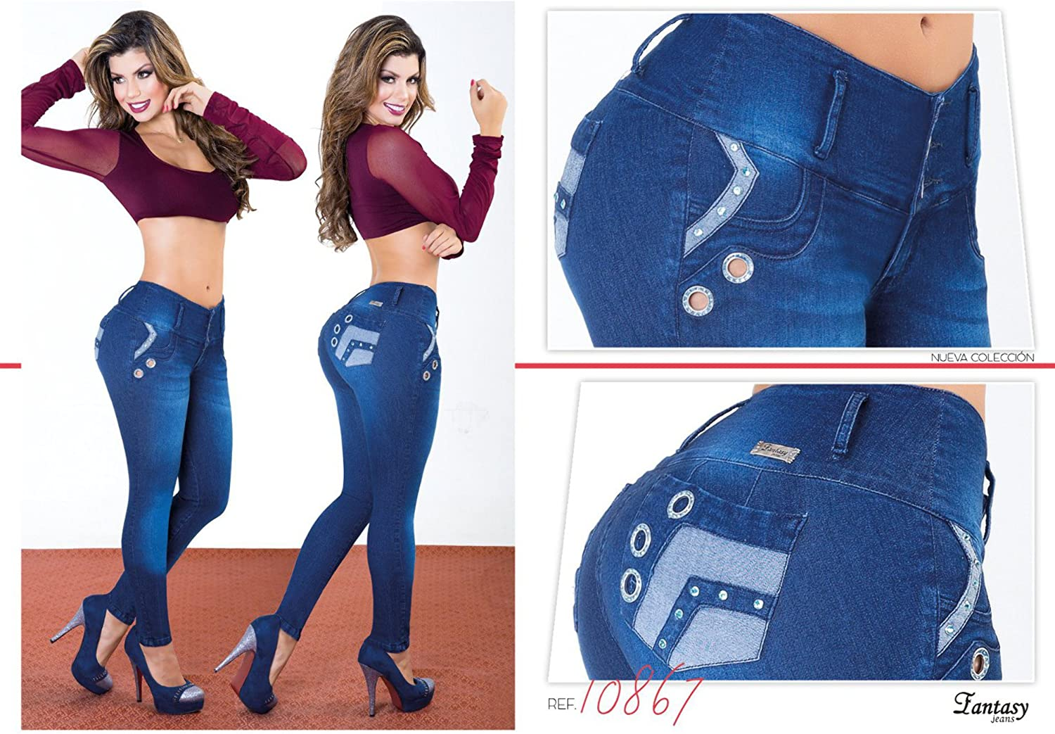 bluee 100% Authentic Colombian Push Up Jean 10867 by Fantasy