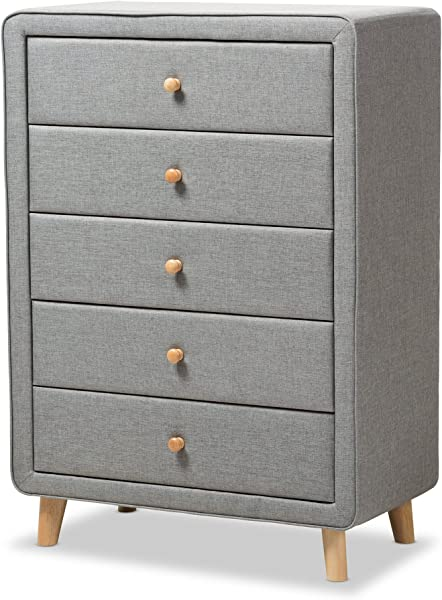 Baxton Studio IsabelleMid Century Grey Fabric Upholstered 5 Drawer Chest Chest Grey