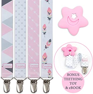 Liname emzik zinciri Kız çocukları için–4adet hediye kutusunda & Bonus diş kaşıyıcı–Premium kalite için evrensel Schnullerband Clip tüm emzik ve Ring–Modaya uygun tasarım