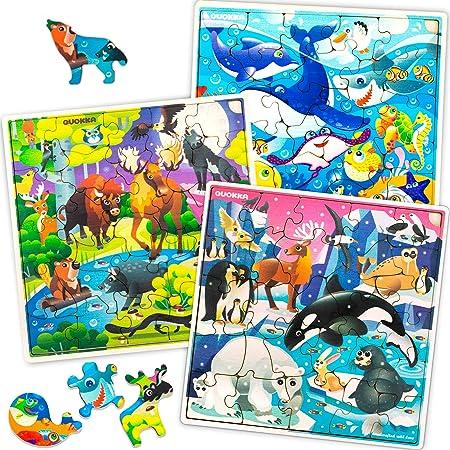 Quokka Puzzle Animaux Enfant 3 4 5 6 ans en Bois - 3 Joets Fille Garcon 4 Ans - Puzzle 30 pièces Unique pour les Jjeux Educatif 5 Ans
