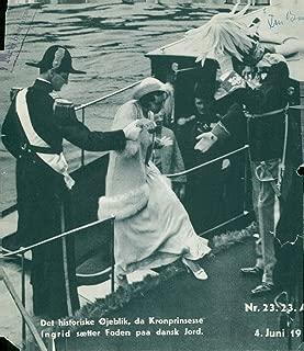 Vintage photo of The Princess Ingrid of Sweden sets foot in Denmark after the wedding with Crown Prince Frederik in Stockholm