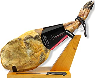Iberico Ham (shoulder) Grass-fed Bone in from Spain 10.6 - 12 lb + Ham Stand + Knife - Jamon Iberico Pata Negra All Natural with Mediterranean Sea Salt & NO Nitrates or Nitrites