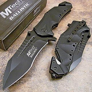 MTech USA Ballistic MT-A845 Series Spring Assist Folding Knife, Black Blade, 5-Inch Closed