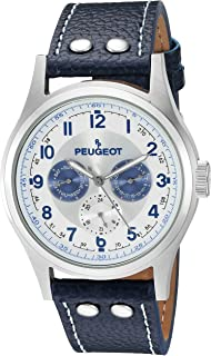 Peugeot Men's 149S Classic Stainless Steel Mesh Multi Function Analog Display Quartz Silver Watch