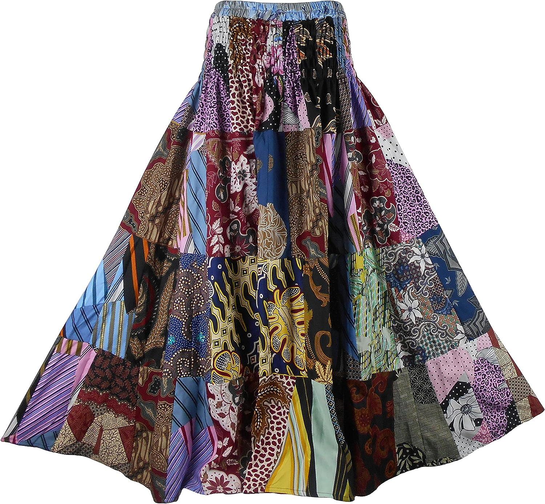 BONYA Women Hippie Boho Colorful Patchwork Smocked Stretch Waist Tiered Long Skirt