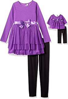 Dollie & Me Girls' Big Ruffled Mini Dress with Legging & Matching Doll Outfit