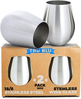 Stainless Steel Stemless Wine Glass Set of 2, 18 oz, Elegant and Modern Large Unbreakable Shatterproof Metal Tumblers for Camping & Picnics